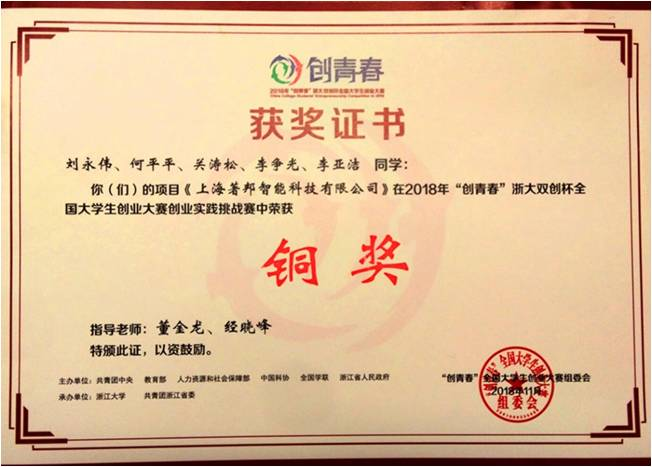 SSPU Students Win Prize in China College Students' Entrepreneurship